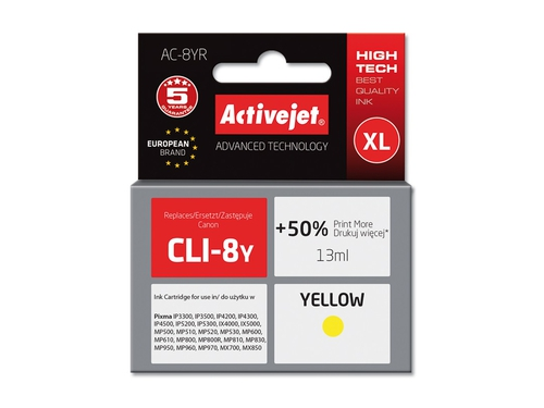 Activejet Tusz Canon CLI-8 Yellow ACR-8Y
