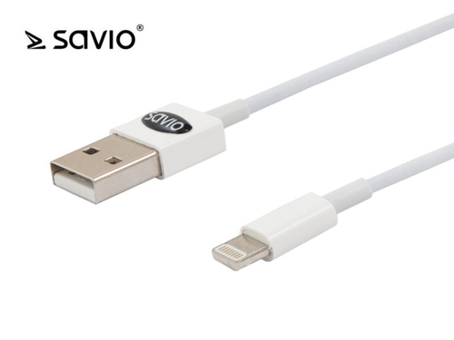 SAVIO KABEL 1M USB A MĘSKIE - LIGHTNING 8PIN MĘSKIE IPHONE 5/5C/5S/6, IPAD MINI, IPAD 4, IPOD TOUCH 5, IPOD NANO 7 CL-64 - cl-64