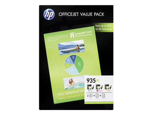Zestaw HP 935XL F6U78AE zawiera CMY C2P24AE C2P25AE C2P26AE 50 ark. papier HP All-in-One Printing/A4 25 ark. papier HP Professional Matt Ink