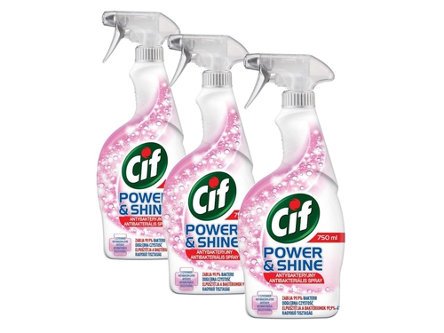 CIF Power&Shine Spray antybakteryjny 3x750ml