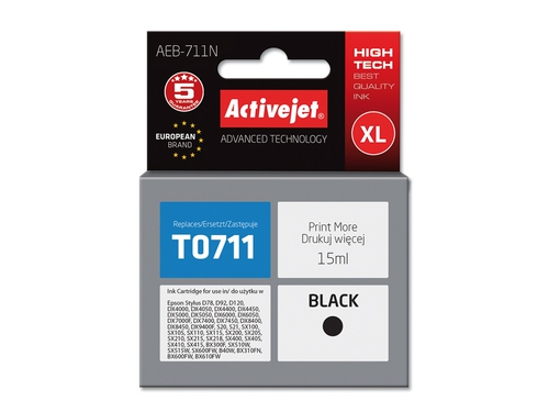 Activejet tusz Eps T0711 Black D78/DX4000/ DX6000 AEB-711