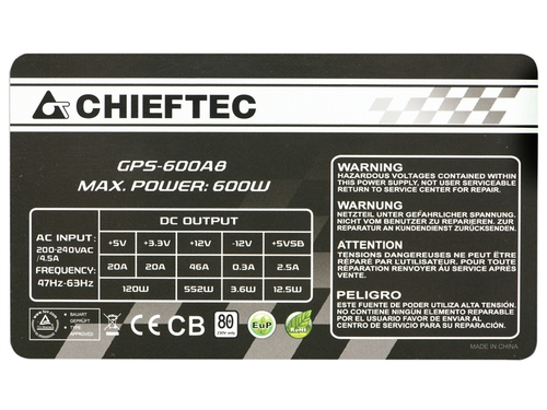 Zasilacz Chieftec Smart 80 Plus GPS-600A8 ATX 600 W