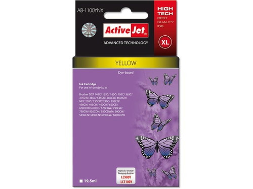 Activejet tusz Brother LC1100/LC980 Yellow AB-1100Y