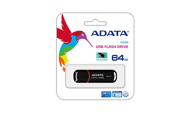 #ADATA FLASHDRIVE USB UV150 64 GB USB 3.0 Czarny