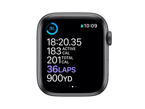 Apple Watch Series 6 GPS, 44mm Space Gray Aluminium Case with Black Sport Band - Regular - M00H3WB/A