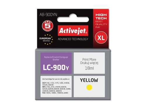 Activejet tusz Brother LC900 Yellow AB-900Y - AB-900YN