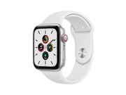 Apple Watch SE GPS + Cellular, 44mm Silver Aluminium Case with White Sport Band - Regular - MYEV2WB/A