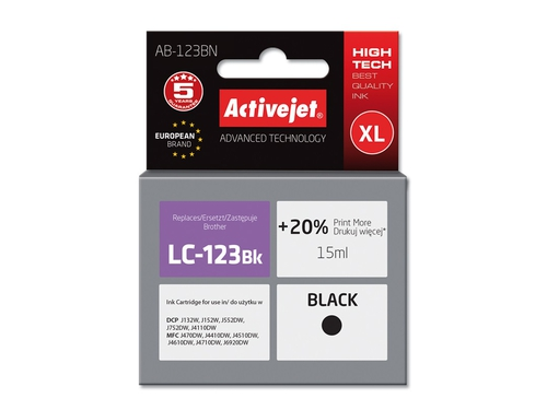 Activejet tusz Brother LC123 Black AB-123BN