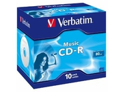 Verbatim CD-R Audio [ jewel case 10 | 80min | 4x | Live it! ] - 43365
