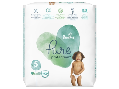 Pampers Pure Protect Pieluchy Rozm. 5, 11+kg, 24szt - 8001090834966