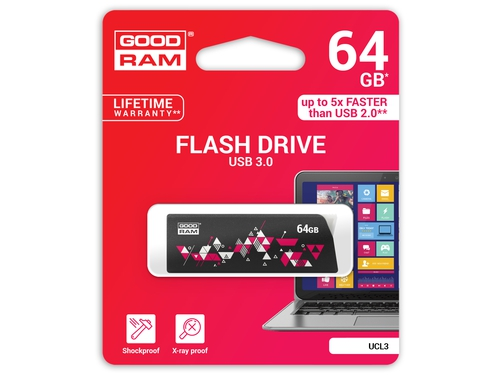 Pendrive Goodram Flashdrive Cl!ck 64GB USB 3.0 czarny - UCL3-0640K0R11