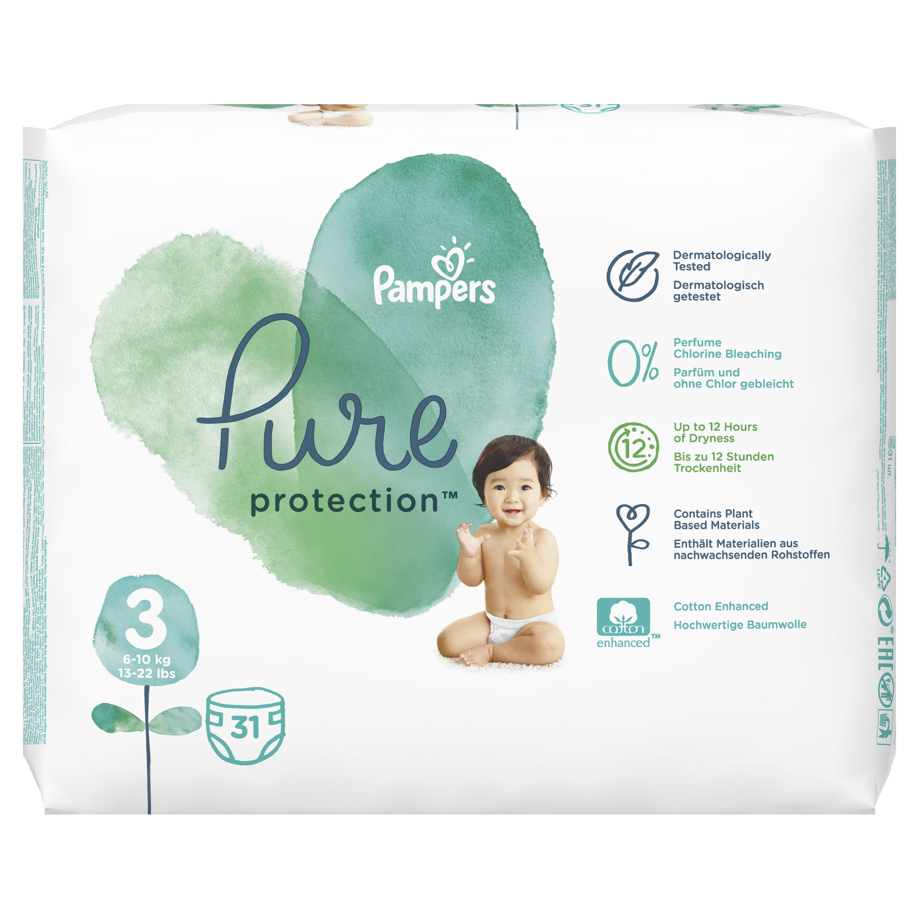 #Pampers Pure Protect Pieluchy Rozm. 3, 6-10kg,31szt