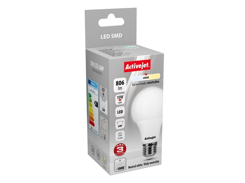 Activejet LED SMD AJE-HS2827N A60 806lm 10W E27 b.neutralna