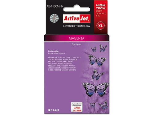 Activejet tusz Brother LC1100/LC980 Magenta AB-1100M - AB-1100MNX