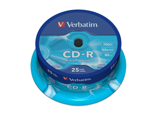 CD-R VERBATIM 700MB 52X EXTRA PROTECTION SP 25SZT - 43432