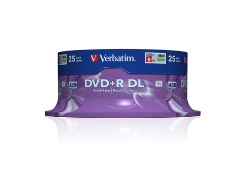 DVD+R VERBATIM DOUBLE LAYER 8.5GB 8X MATT SILVER SP 25SZT - 43757