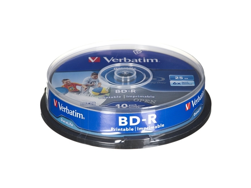 BluRay BD-R SL DATALIFE Verbatim [ Spindle 10 | 25GB | 6x [Wide PRINTABLE NO ID] - 43804