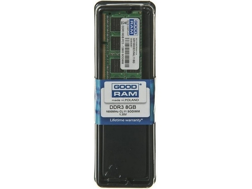 Pamięć RAM Goodram SO-DIMM DDR3 8192MB PC1600 CL11 512x8 1,35V - GR1600S3V64L11/8G