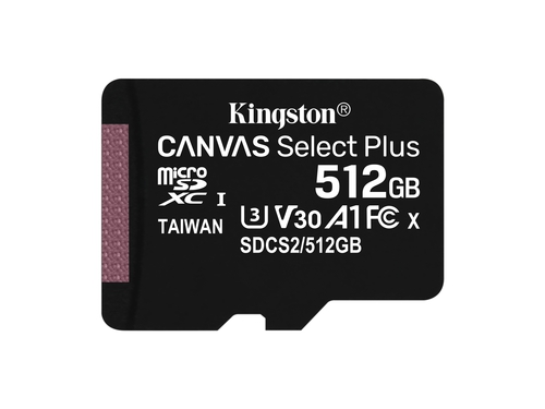 KINGSTON microSDXC Canvas Select Plus 100R + ADP - SDCS2/512GB