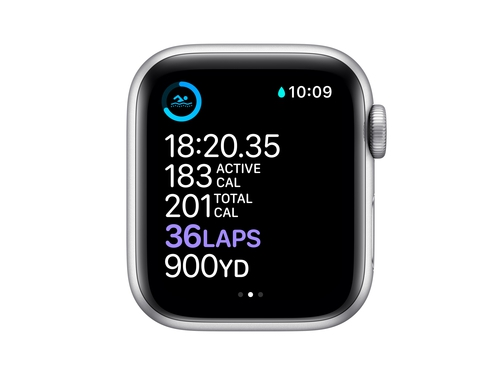 Apple Watch Series 6 GPS + Cellular, 40mm Silver Aluminium Case with White Sport Band - Regular - M06M3WB/A
