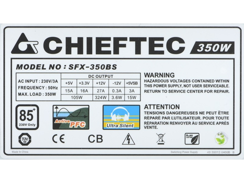 Zasilacz Chieftec Smart 80 Plus SFX-350BS SFX 350 W