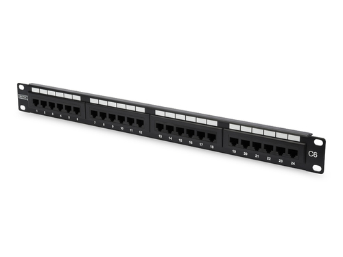 "DIGITUS Patch-panel 19"" 24x RJ45 U/UTP kat. 6, 1U z tacką, czarny - DN-91624U-EC"