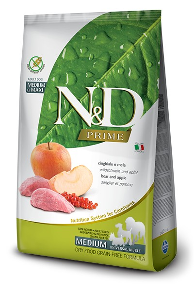 #FARMINA N&D PRIME DOG WILD BOAR AND APPLE ADULT MEDIUM & MAXI 2.5kg