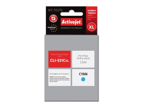 Activejet tusz Canon CLI-551C with chip ACC-551CN