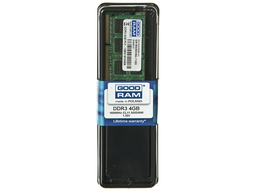 Pamięć Goodram SO-DIMM DDR3 4096MB PC1600 CL11 512x8 1,35V - GR1600S3V64L11S/4G
