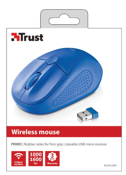 #MYSZ TRUST Primo Wireless Mouse - Blue