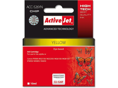 ActiveJet ACC-526Y tusz yellow do drukarki Canon (zam. CLI-526Y) (CHIP).. - ACC-526YN