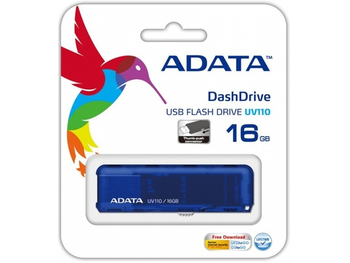 ADATA FLASHDRIVE UV110 16GB USB 2.0 BLUE - AUV110-16G-RBL
