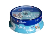 CD-R VERBATIM AZO 700MB 52X WIDE PRINT SP 25SZT - 43439