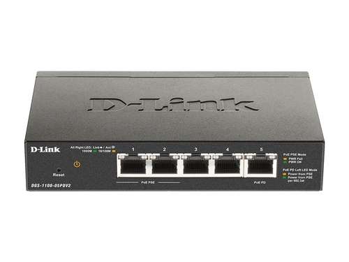 "D-Link DGS-1100-05PDV2 ""5-Port Gigabit PoE Smart Ma"