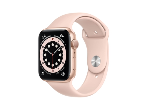 Apple Watch Series 6 GPS, 44mm Gold Aluminium Case with Pink Sand Sport Band - Regular - M00E3WB/A