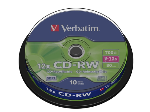 Verbatim CD-RW [ cake box 10 | 700MB | 12x ] - 43480