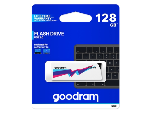 Pendrive Goodram Flashdrive Cl!ck 128GB USB 2.0 biały - UCL2-1280W0R11