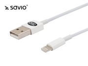 Savio kabel 1m usb a męskie - lightning 8pin męskie iphone 5/5c/5s/6, ipad mini, ipad 4, ipod touch 5, ipod nano 7 cl-64 cl-64
