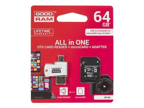 GOODRAM ALL IN ONE microSDXC 64GB Class 10+Czyt.kar - M1A4-0640R11