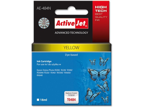 Activejet tusz Eps T0484 R200/R300 Yellow