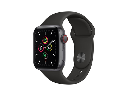 Apple Watch SE GPS + Cellular, 40mm Space Gray Aluminium Case with Black Sport Band - Regular - MYEK2WB/A