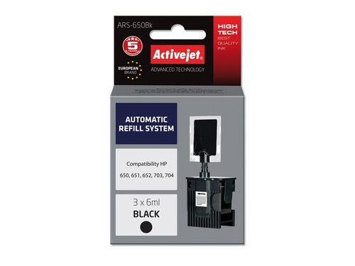 ActiveJet Automatic Refill System HP 703/704/650 Bk 3x6ml ARS-650 Bk - ARS-650BK