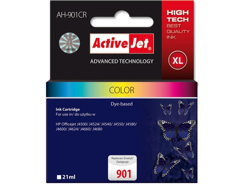 Tusz Activejet AH-901CR zamiennik HP 901 CC656AE Premium 21 ml kolor