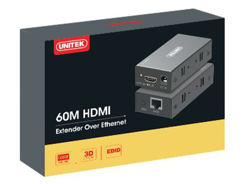 UNITEK EXTENDER HDMI OVER ETHERNET, 60M, V100A