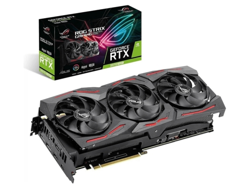 Karta graficzna Asus GeForce RTX 2070 Super ROG STRIX RTX 2070 ADVANCED ROG-STRIX-RTX2070S-A8G-GAMING CUDA: 2560 2-way NVIDIA NVLINK GPU Tweak II ASUS FanConnect II Wentylatory o konstrukcji Axial-tech 8GB GDDR6 14000 MHz 256-bit
