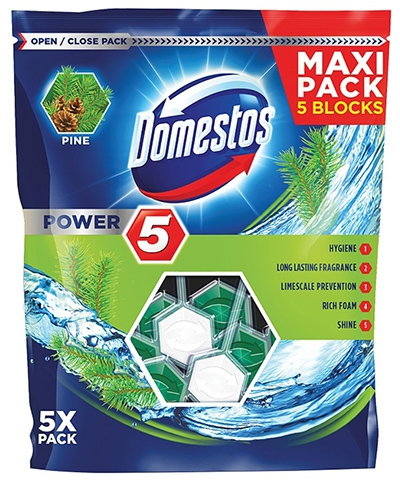 #DOMESTOS Power 5 Kostka zapachowa do WC Pine 5x55 g