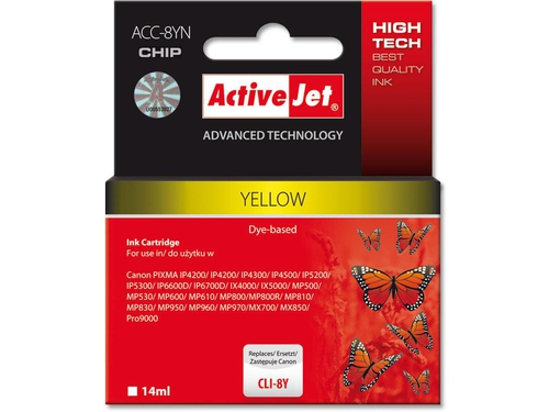 Activejet tusz Canon CLI-8 Yellow WITH CHIP ACC-8Y - ACC-8YN