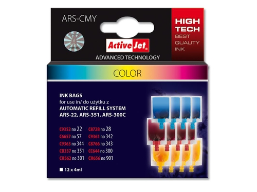 ActiveJet ARS-CMY Ref Ink Bag 12x4ml
