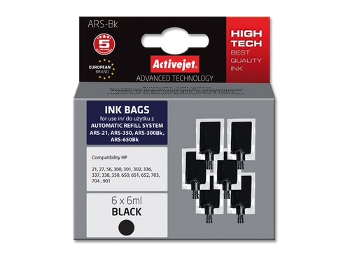 ActiveJet ARS-Bk Refill Ink Bag 6x6ml - ARS-BK
