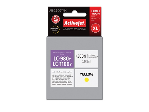 Activejet tusz Brother LC1100/LC980 Yellow AB-1100Y - AB-1100YNX